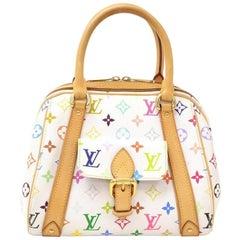 Louis Vuitton Priscilla White Multicolor Monogram Canvas Hand Bag