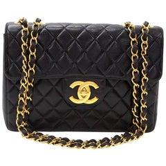 """Vintage Chanel 12"""" Jumbo Black Quilted Leather Shoulder Flap Bag"""