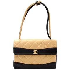 """Chanel 11"""" Black x Beige Quilted Leather Flap Shoulder Bag"""