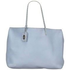 Fendi Blue Leather Selleria Tote