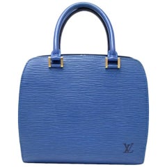 Louis Vuitton Pont Neuf Blue Epi Leather Handbag