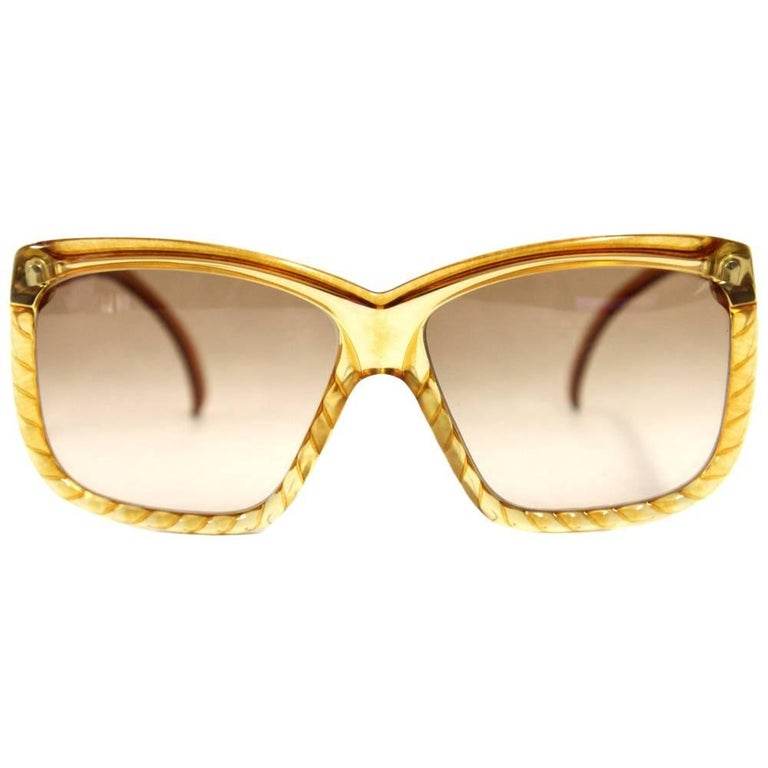 1970s Christian Dior Yellow Intertwined Sunglasses