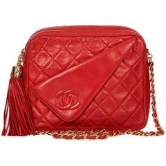 1990 Chanel Red Quilted Lambskin Vintage Camera Bag