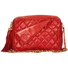 1980s Chanel Red Quilted Lambskin Vintage Camera Bag