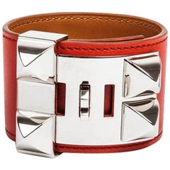 HERMES 'Collier de Chien' Cuff Bracelet in Tadelakt Sanguine Leather Size S