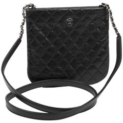 CHANEL Pouch in Aged Black Quilted Leather