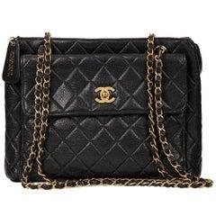 1990s Chanel Black Quilted Caviar Leather VIntage Timeless Shoulder Bag