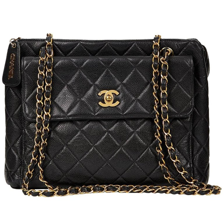 ba8955ef7554 1990s Chanel Black Quilted Caviar Leather VIntage Timeless Shoulder Bag For  Sale
