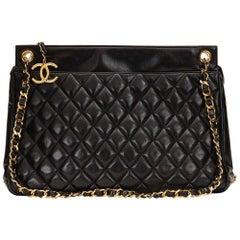 1990 Chanel Black Quilted Lambskin Vintage Timeless Shoulder Bag