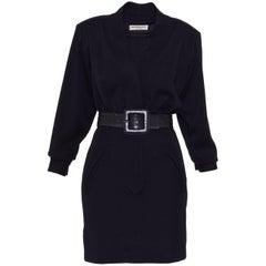 1980s YVES SAINT LAURENT Rive Gauche Black Suit Dress