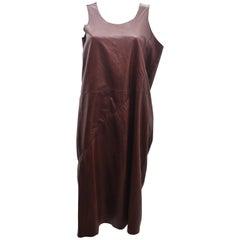 Junya Watanabe Brown Leather Sleeveless Asymmetric Dress 2011