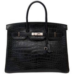 Super Rare Hermes Black Birkin 35 Three Skin  (Alligator, Clemence Taurillon, Bo