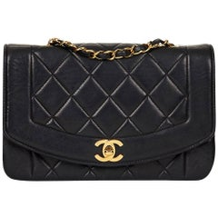 1990s Chanel Black Quilted Lambskin Vintage Small Diana Classic Single Flap Bag