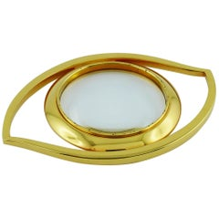 Hermès Vintage Cleopatra Eye Gold Toned Desk Magnifying Glass Paperweight