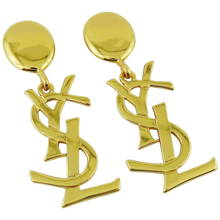 Yves Saint Laurent YSL Vintage Massive Iconic Logo Dangling Earrings For Sale