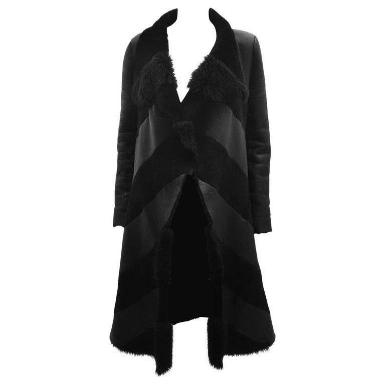 Gareth Pugh Black Open Drape Sheepskin Coat with Diagonal Stripes A/W 11 1