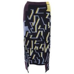 Peter Pilotto Multicolour Geometric Slit Ribbed Knit Skirt A/W 14