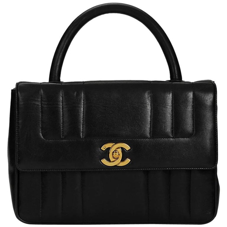 1990s Chanel Black Vertical Quilted Lambskin Vintage Timeless Kelly For Sale