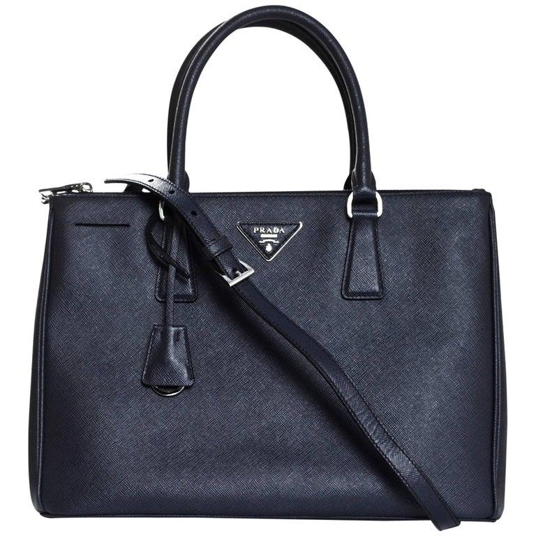 6cf9e39c2650 Prada Baltico Navy Blue Medium Double Zip Saffiano Leather Tote Bag w   Strap For Sale at 1stdibs