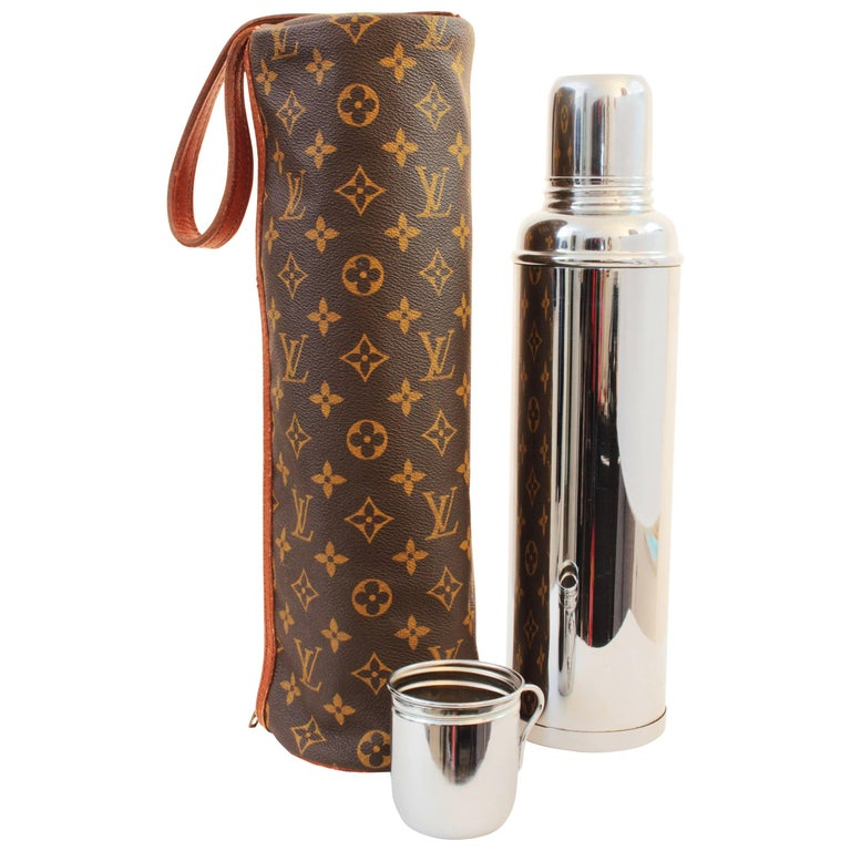 Vintage Louis Vuitton Monogram Tote with Thermos & Cup Picnic Travel Barware 70s