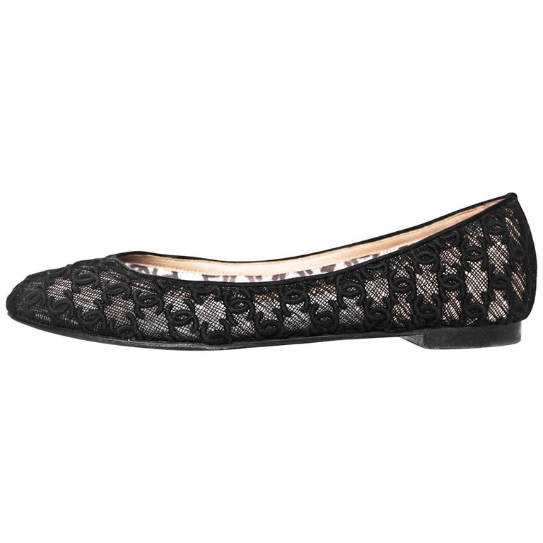 Chanel Black CC Mesh Ballet Flats Sz 42 For Sale