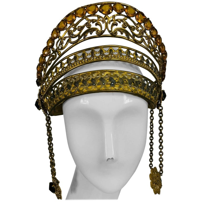 Rare Crown headdress gilt metal with jewels and side drops early 1900s For Sale