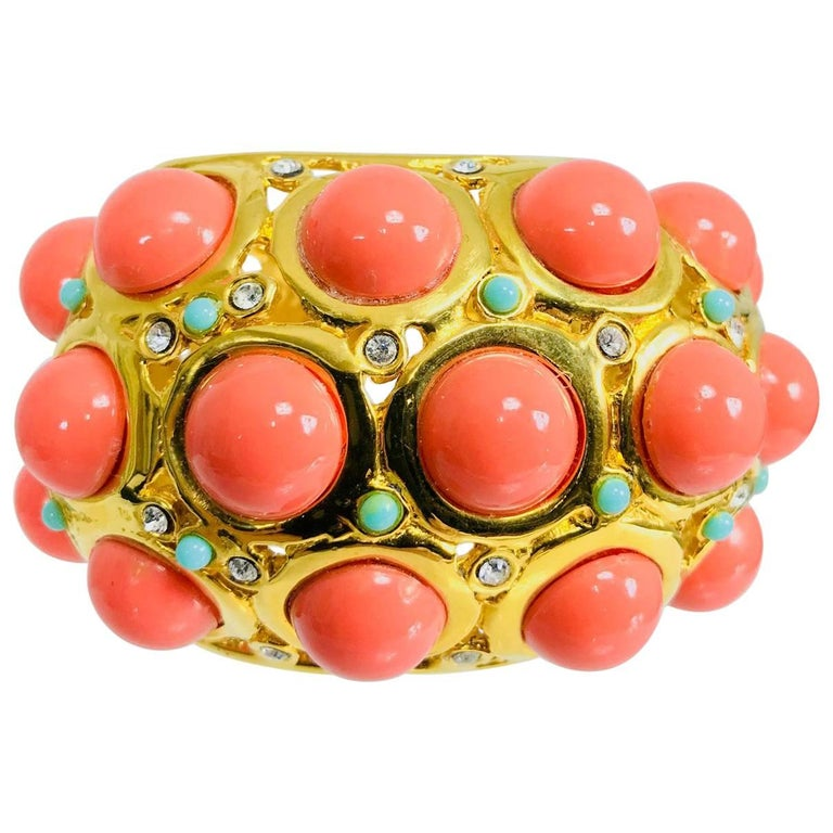 Kenneth J Lane faux coral turquoise rhinestone gold clamp cuffs bracelet For Sale
