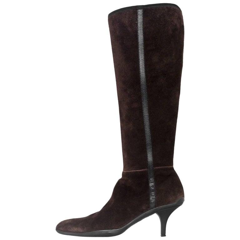 prada sport brown suede kitten heel boots sz 37 with db