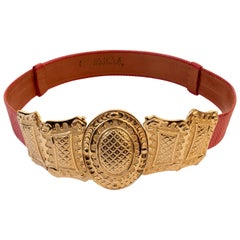 Vintage Alexis Kirk Red Snakeskin Belt with Gold Metal Byzantine Buckle 80s M/L