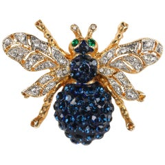 c.1990's Sapphire Blue Crystal Rhinestone & Gold Bee Bug Figural Brooch Pin