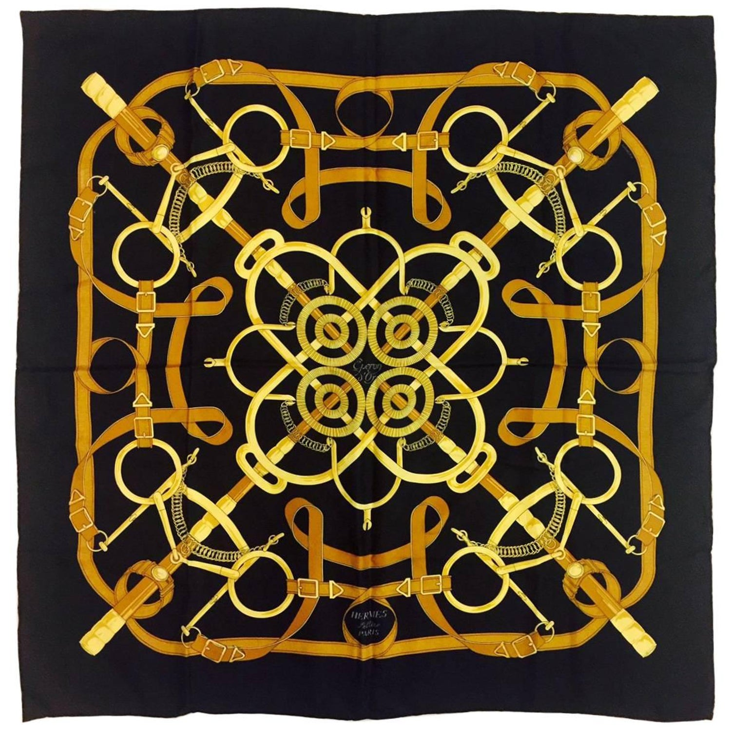 Hermes 100% Silk Twill Scarf Eperon d Or by Henri d Origny at 1stdibs 2403b199f44