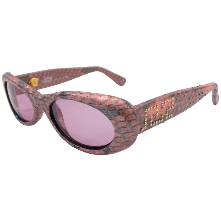 1990s Gianni Versace Pink Snakeskin Sunglasses