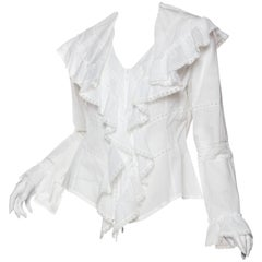 1980S Anne Fontaine Cotton & Lace Victorian Ruffled Blouse From Paris