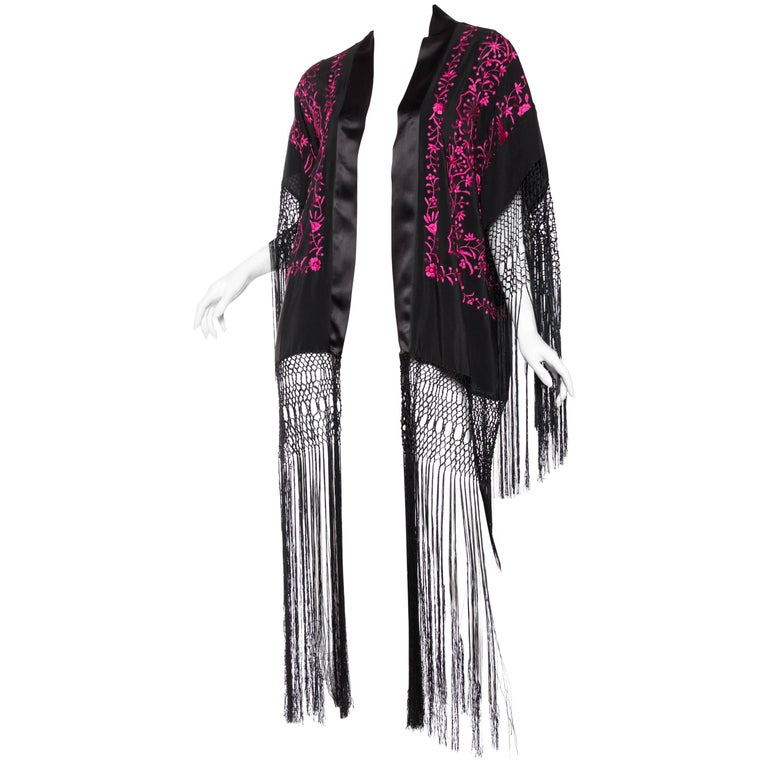 Hand Embroidered Piano Shawl Kimono with Fringe For Sale