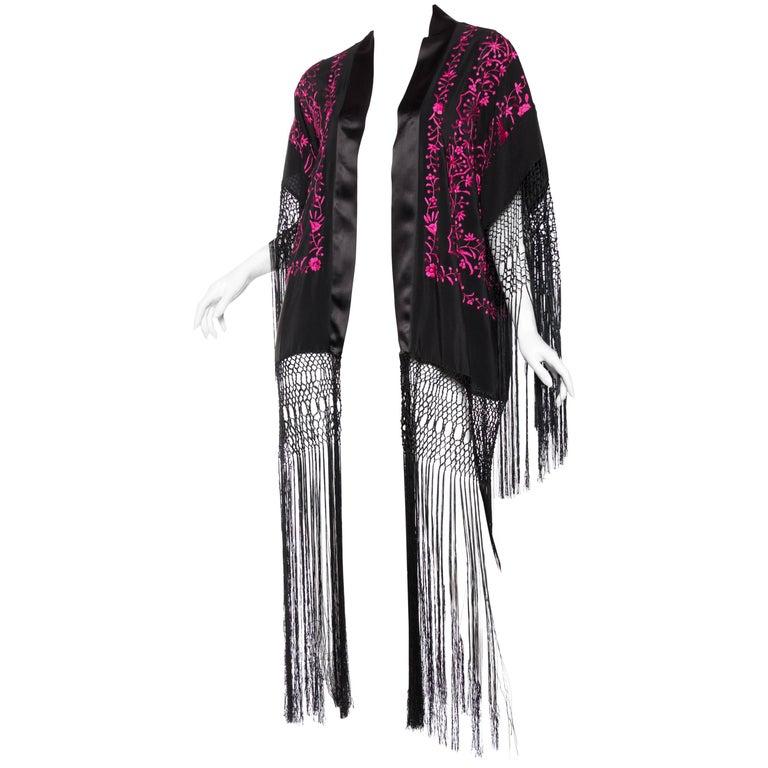 Hand Embroidered Piano Shawl Kimono with Fringe