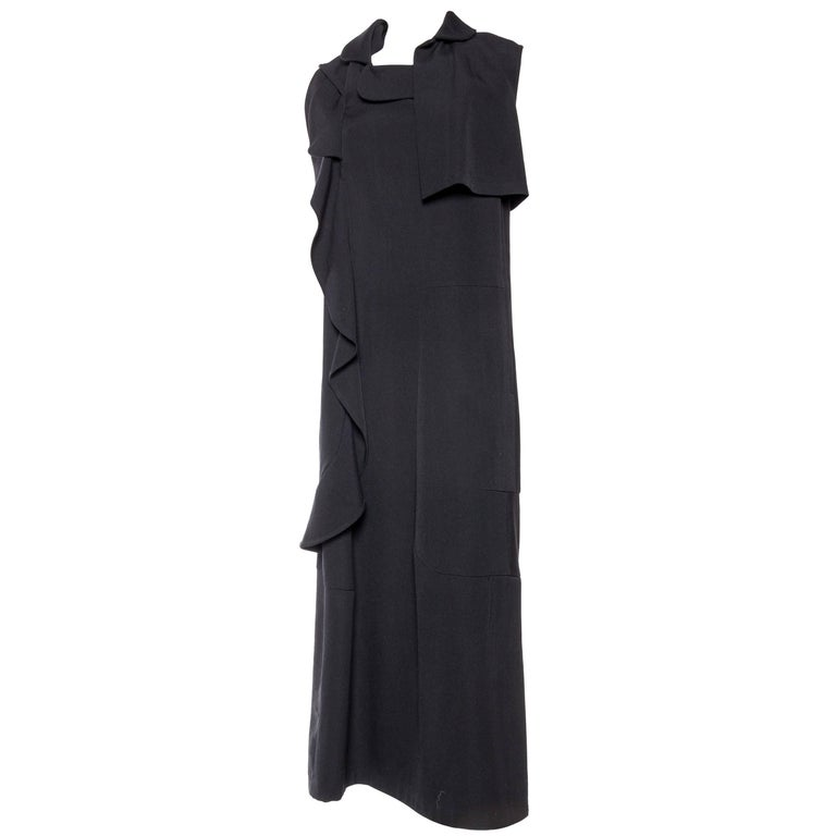 Comme Des Garcons Deconstructed Ruffled Wool Dress