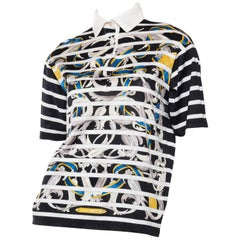 Hermés Baroque and Stripe Printed Cotton Polo Shirt