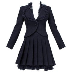 Chanel Cruise Navy Wool Bouclé Tutu Skirt Suit, 2002