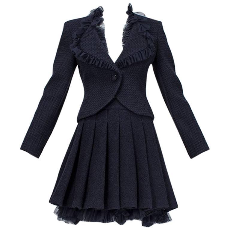 Chanel Cruise Navy Wool Bouclé Tutu Skirt Suit, 2002 For Sale