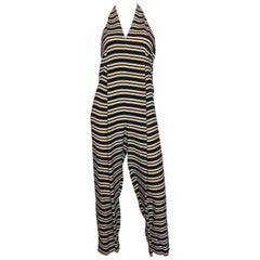 1970s Geoffrey Beene Black & White Striped Halter Neck Jumpsuit