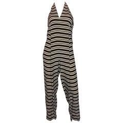 1970s Geoffrey Beene Black & White Striped Halter Neck Jumpsuit