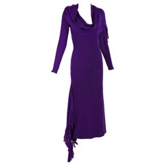 Jean Paul Gaultier Deep Purple Bodycon Dress with Fringed Scarf and Side Slit