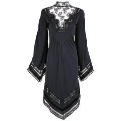 1970s Giorgio di Sant'Angelo Lace Crochet and Velvet Trim Black Jersey Dress