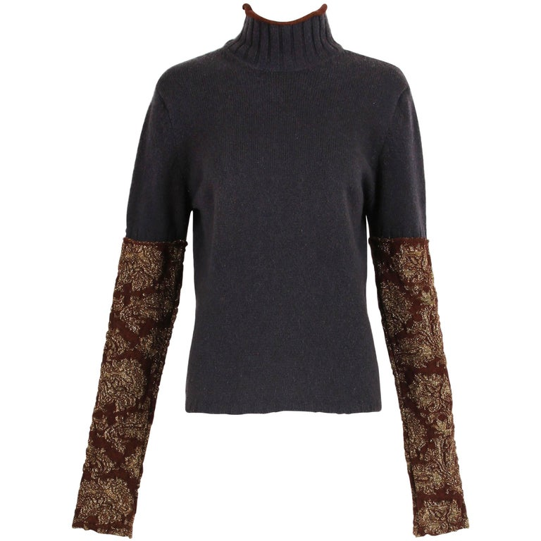 Dries Van Noten Charcoal Grey Wool Mock-Neck Sweater W/Metallic Folate Sleeves