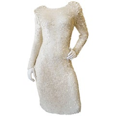 Sexy Cream Sequin Knit Cocktail Dress