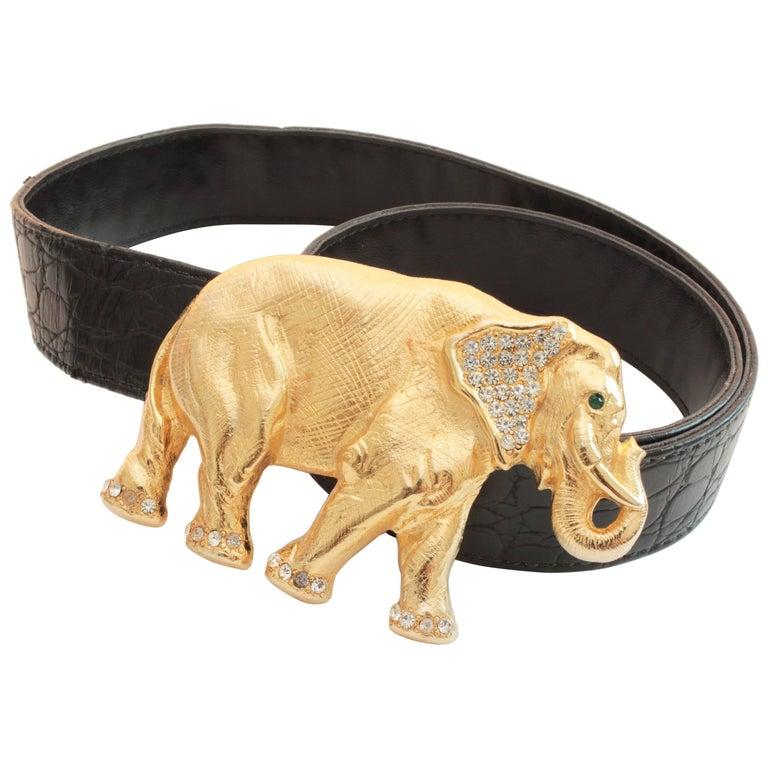 Gold Rhinestone Elephant Buckle + Black Leather Belt Strap Hattie Carnegie Attr