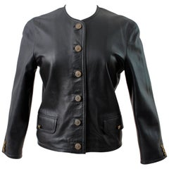 Maus & Hoffman Black Leather Jacket Ladies with Jewel Neckline England Sz 8