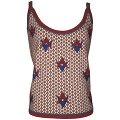 Chanel Red and Blue Beaded Cashmere Tank Top Sweater