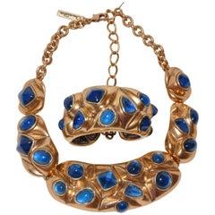 Oscar de la Renta Gilded Gold Hardware with Pour Glass Necklace & Bracelet