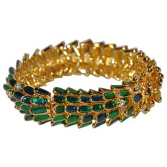 "Kenneth Jay Lane Bold Green Enamel ""Dragon's Scale"" Bracelet"